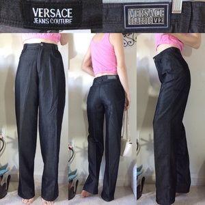 VERSACE JEANS COUTURE Sleek Sheen High Waist Pants